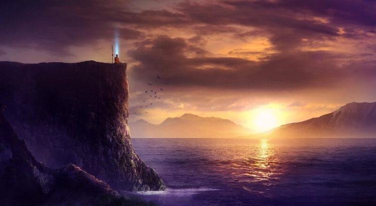 Sisemine maailm meie jääme mediteeriv mees päikeseloojand kalju meri