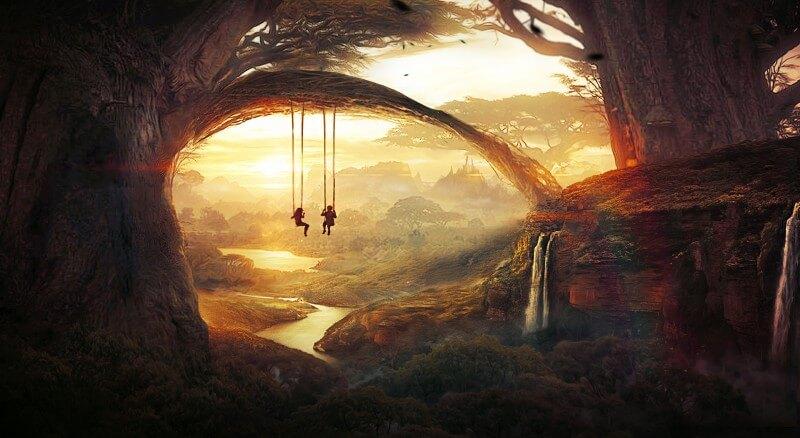 Enese kontroll, emapuu, kiik, puu lapsed, jõgi, loodus, loodu