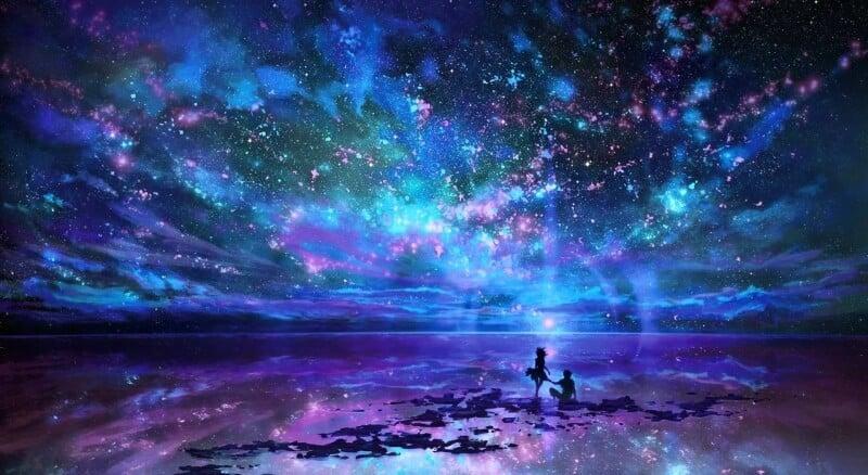 Saame kokku mees naine taevas tähed vesi