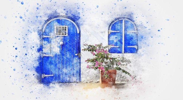Uks iseendasse maja uks aken potilill