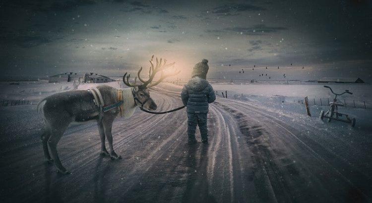 Alustame algusest, Laps, sisemine laps, põhjapõder, lumi, jäine tee, päikeseloojang